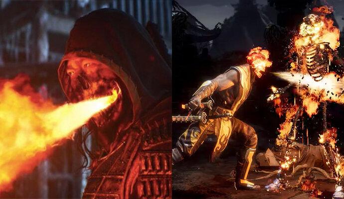 Semburan api, ciri khas fatality Scorpion